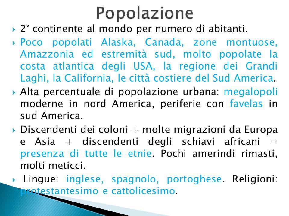 Popolazione 2° continente al mondo per numero di abitanti.