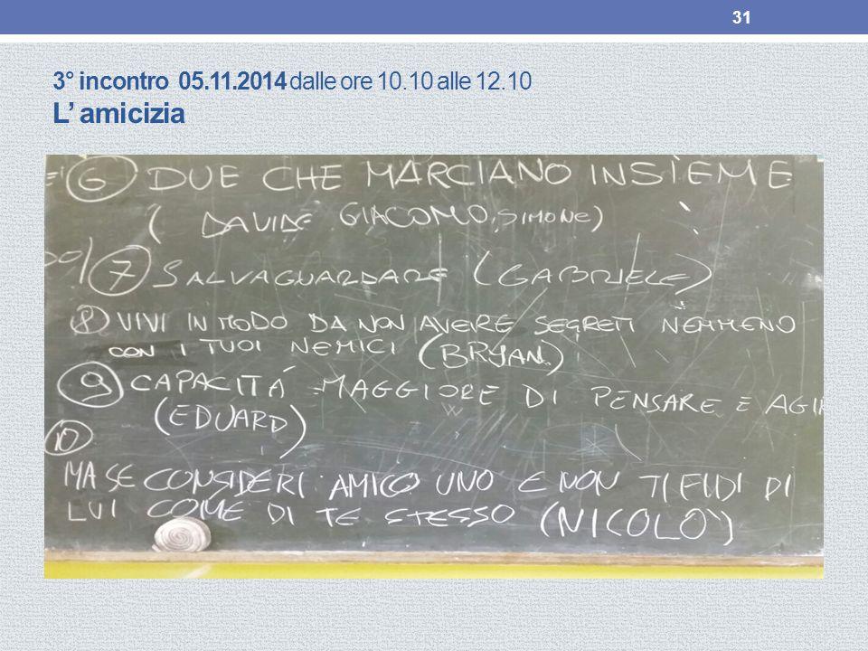 3° incontro 05.11.2014 dalle ore 10.10 alle 12.10 L' amicizia