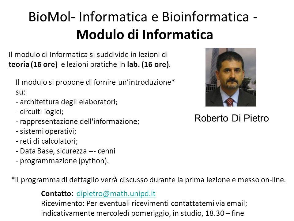 BioMol- Informatica e Bioinformatica - Modulo di Informatica