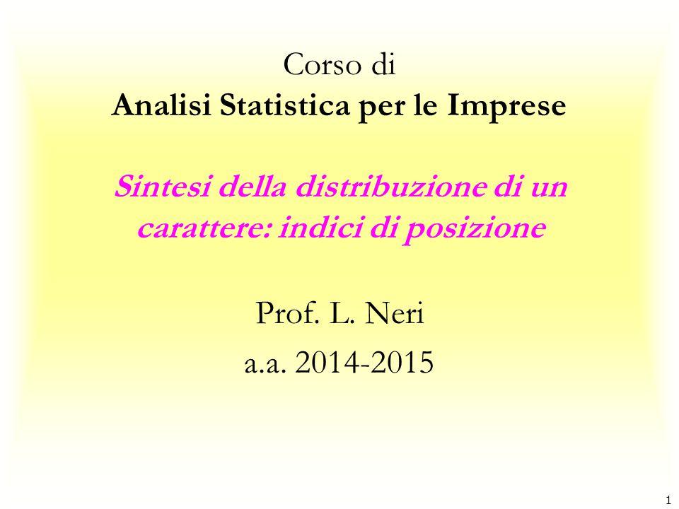 Corso di Analisi Statistica per le Imprese Sintesi della distribuzione di un carattere: indici di posizione