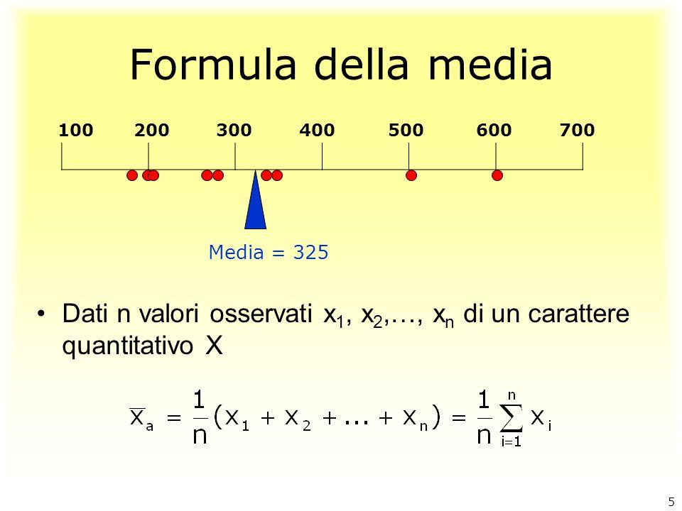 Formula della media 100 200 300 400 500 600 700. Media = 325.