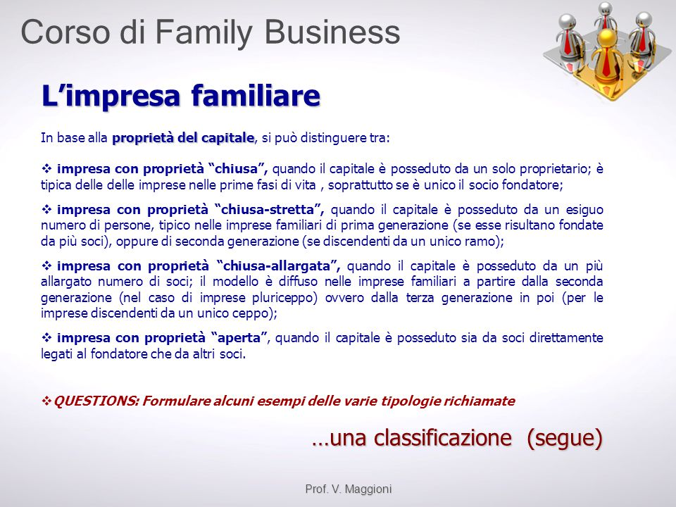 L'impresa familiare …una classificazione (segue)
