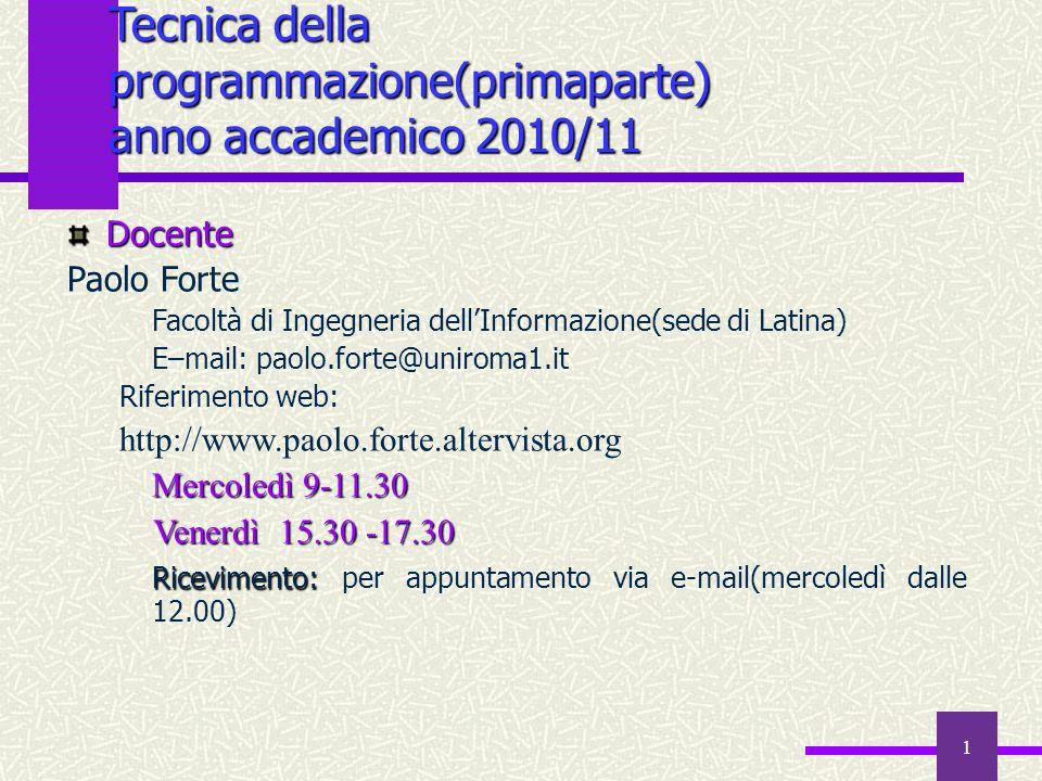 Tecnica della programmazione(primaparte) anno accademico 2010/11