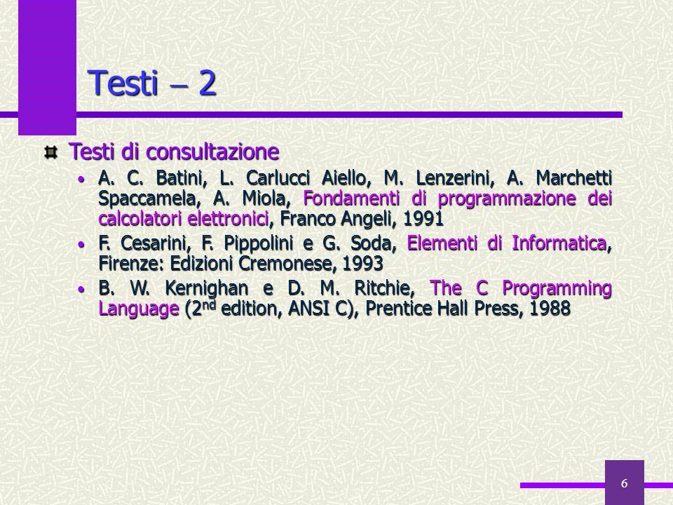Testi  2 Testi di consultazione