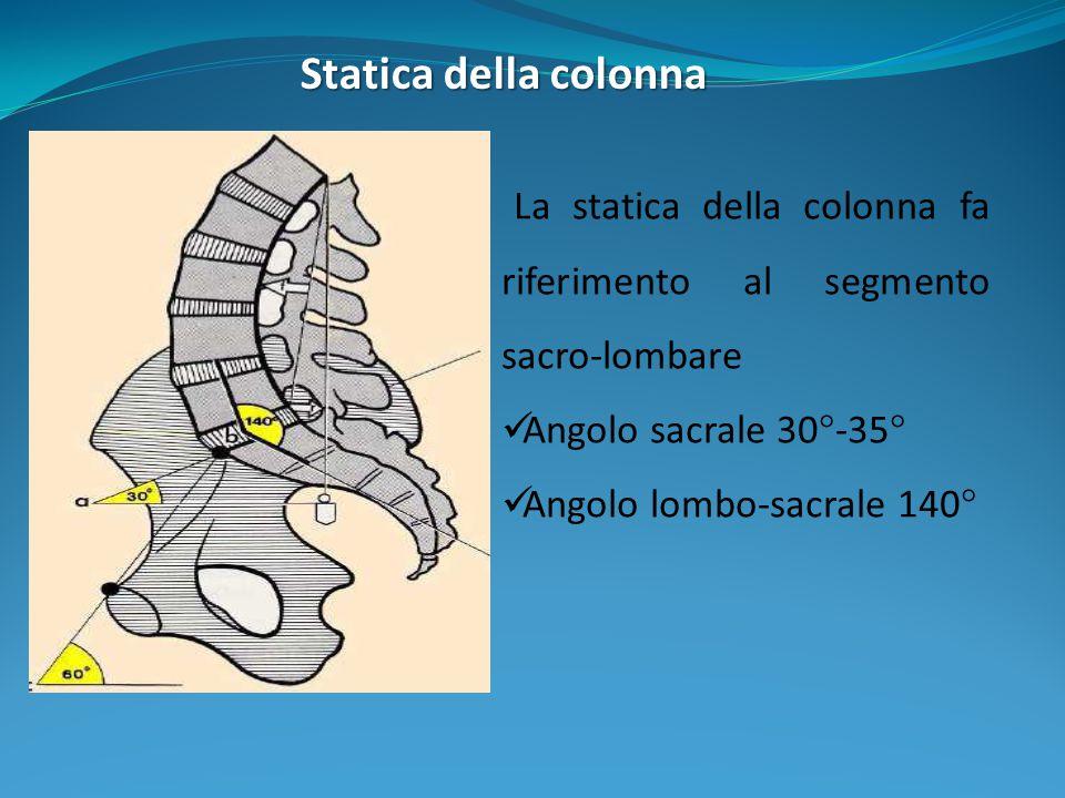 Statica della colonna La statica della colonna fa riferimento al segmento sacro-lombare. Angolo sacrale 30°-35°