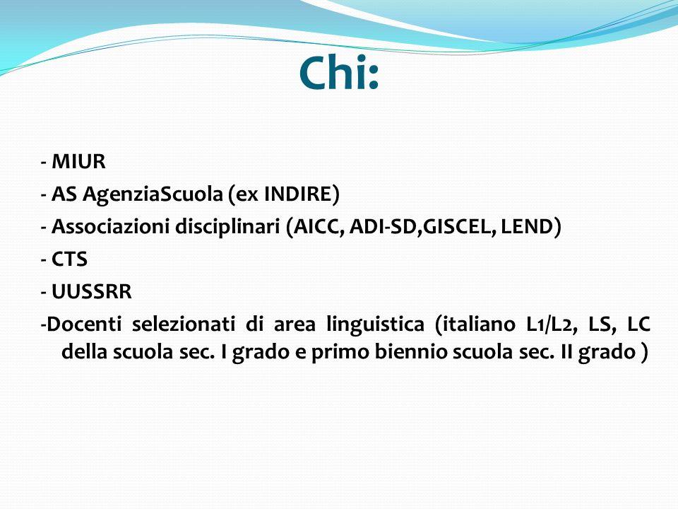 Chi: - MIUR - AS AgenziaScuola (ex INDIRE)