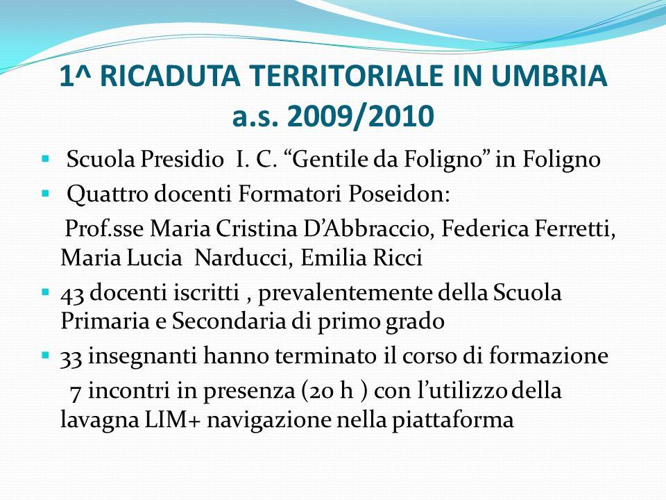 1^ RICADUTA TERRITORIALE IN UMBRIA a.s. 2009/2010
