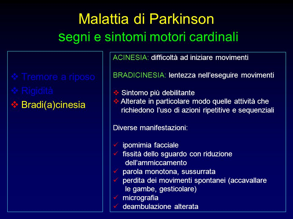 Malattia di Parkinson segni e sintomi motori cardinali