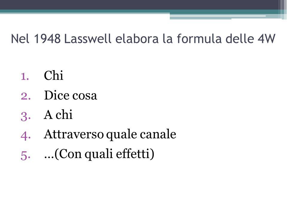 Nel 1948 Lasswell elabora la formula delle 4W