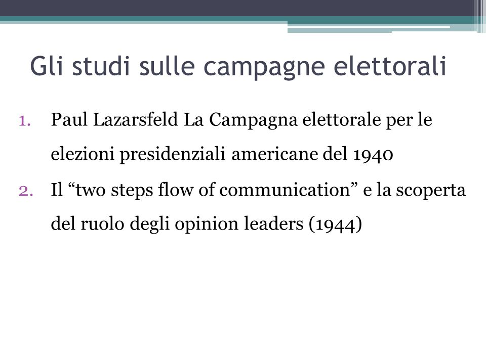 Gli studi sulle campagne elettorali