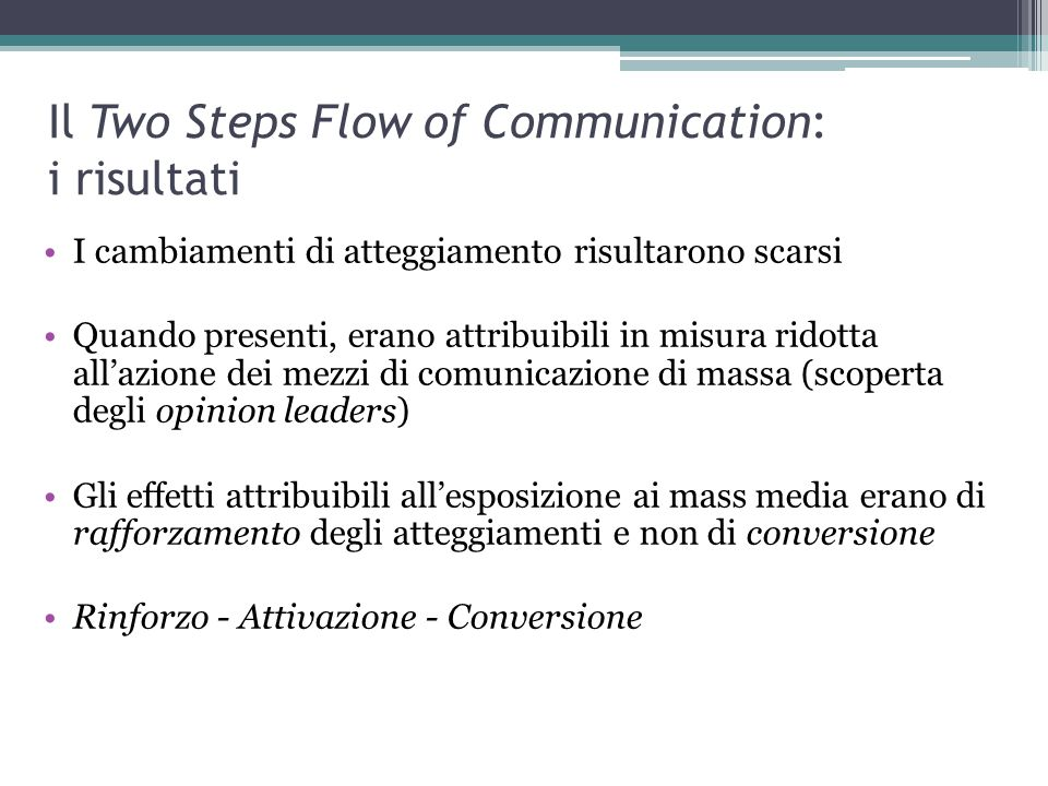 Il Two Steps Flow of Communication: i risultati
