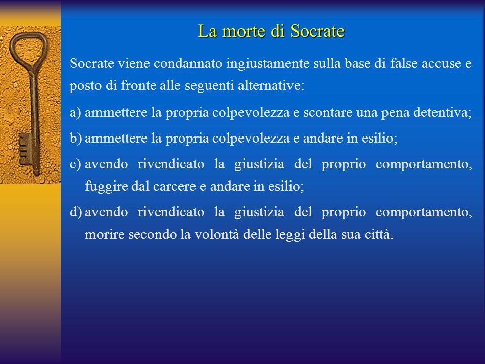 La morte di Socrate Socrate viene condannato ingiustamente sulla base di false accuse e posto di fronte alle seguenti alternative:
