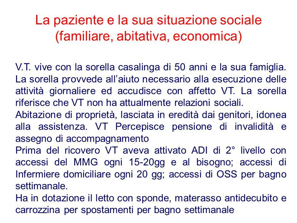 La paziente e la sua situazione sociale (familiare, abitativa, economica)