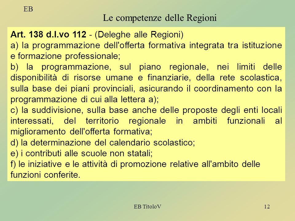 Le competenze delle Regioni