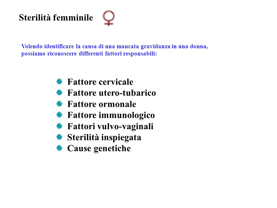 Fattore utero-tubarico Fattore ormonale Fattore immunologico