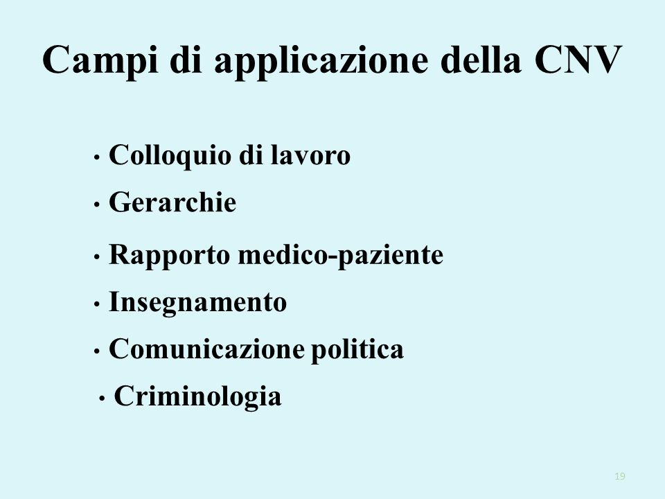 Campi di applicazione della CNV