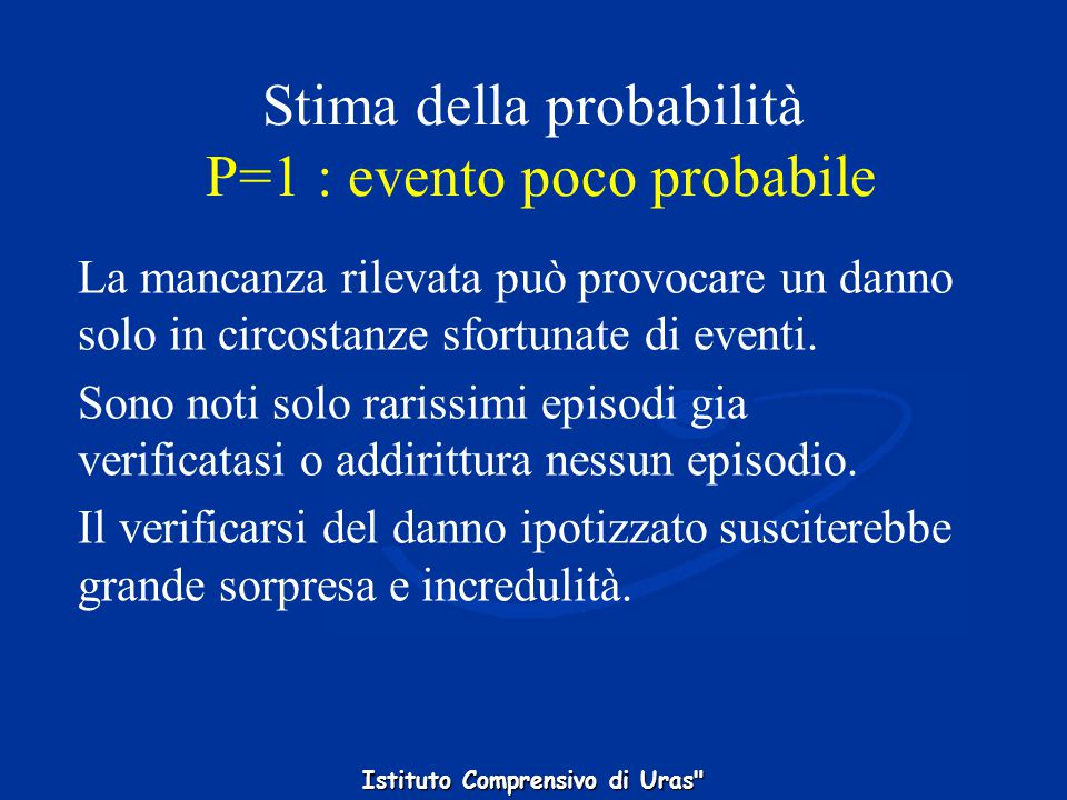 Stima della probabilità P=1 : evento poco probabile