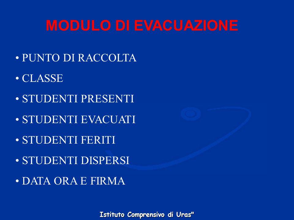 MODULO DI EVACUAZIONE PUNTO DI RACCOLTA CLASSE STUDENTI PRESENTI