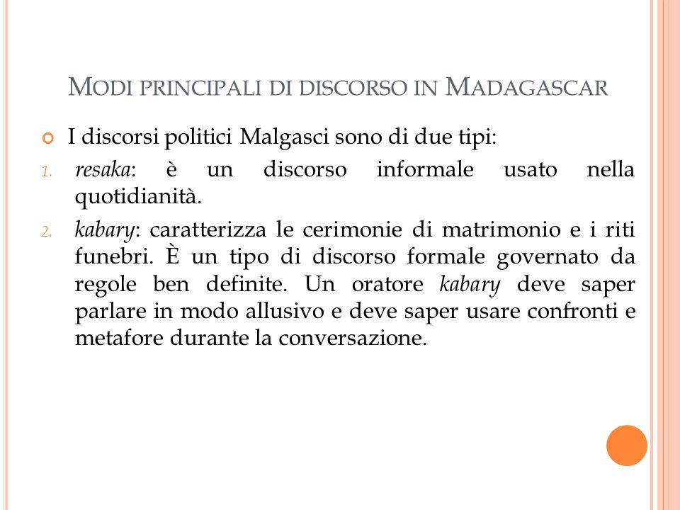 Modi principali di discorso in Madagascar