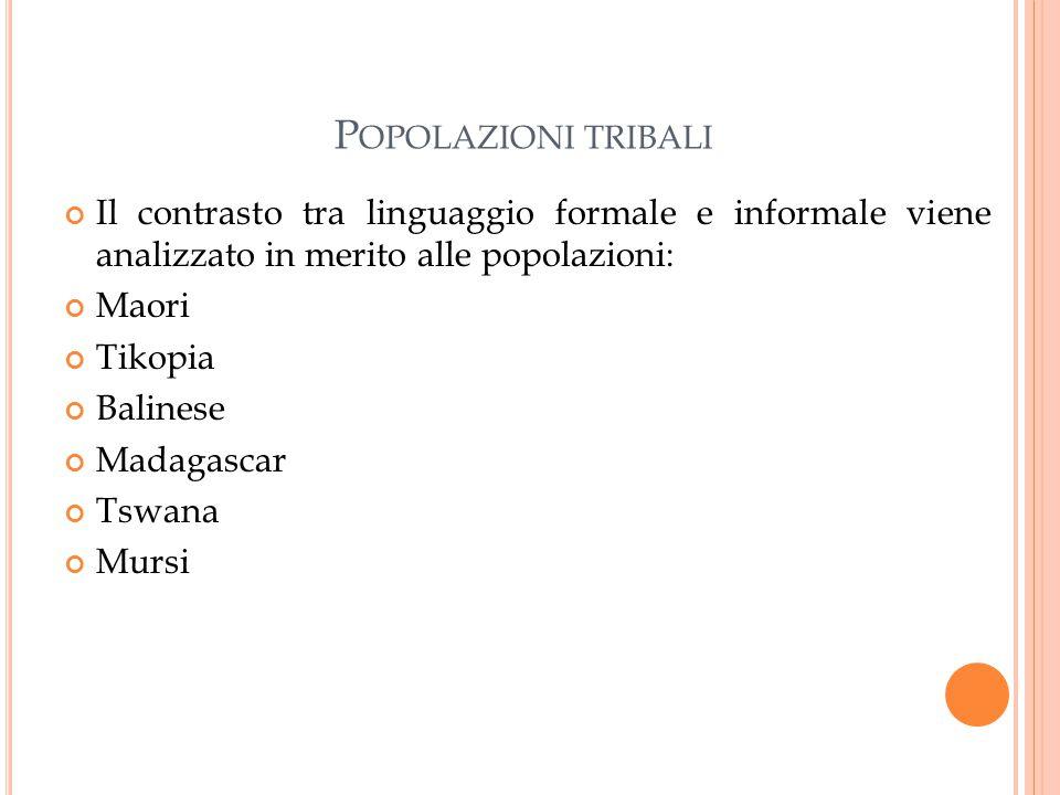 Popolazioni tribali Il contrasto tra linguaggio formale e informale viene analizzato in merito alle popolazioni: