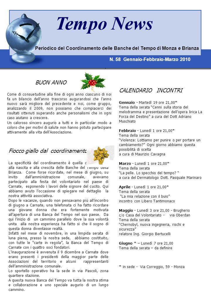 Tempo News CALENDARIO INCONTRI Fiocco giallo dal coordinamento