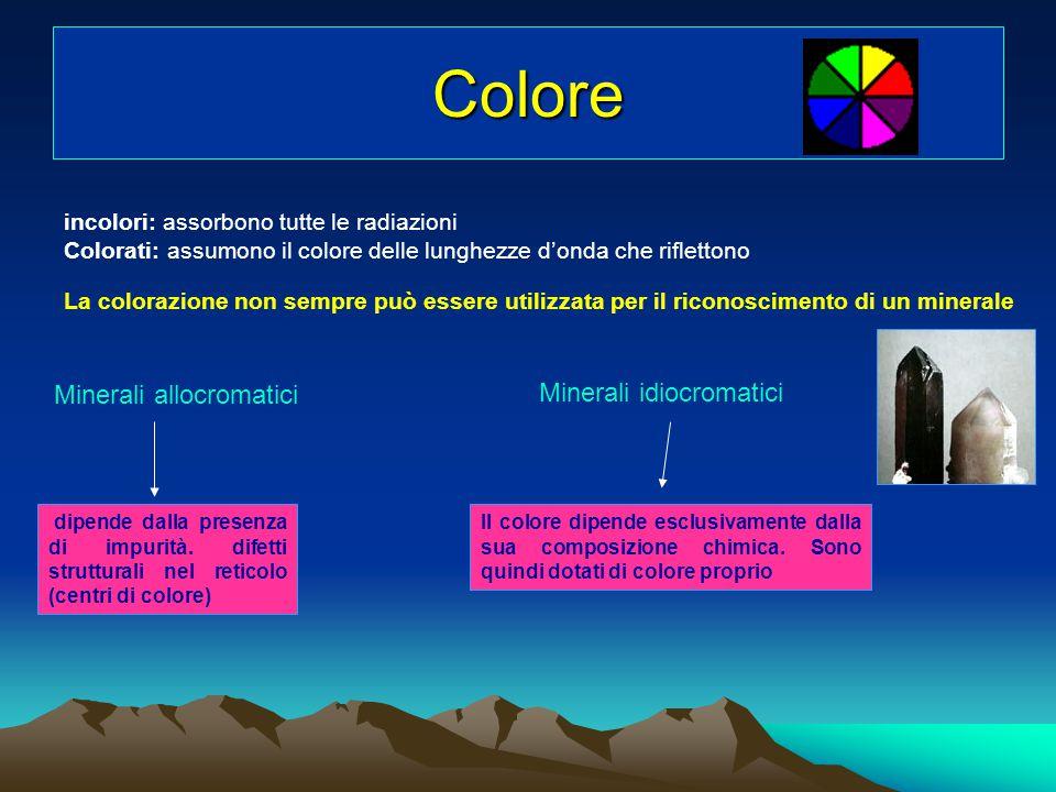 Colore Minerali allocromatici Minerali idiocromatici