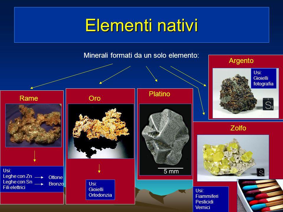 Minerali formati da un solo elemento: