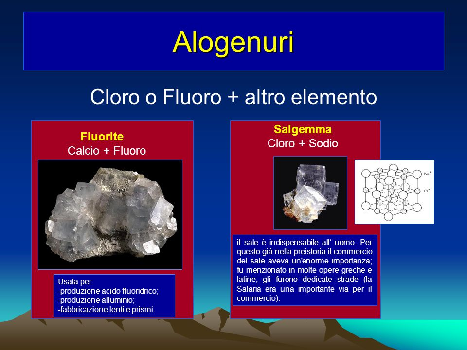 Cloro o Fluoro + altro elemento