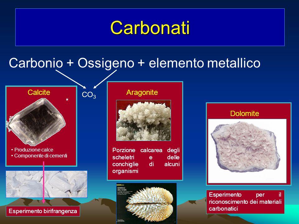 Carbonio + Ossigeno + elemento metallico