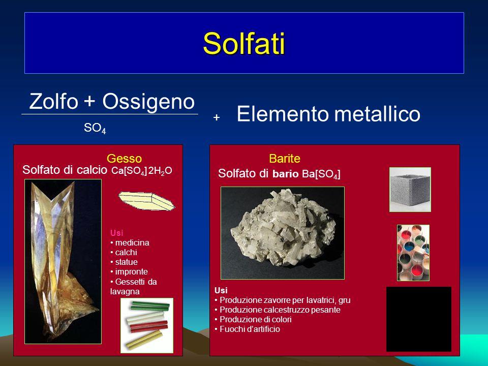 Solfati Zolfo + Ossigeno Elemento metallico + SO4 Gesso Barite