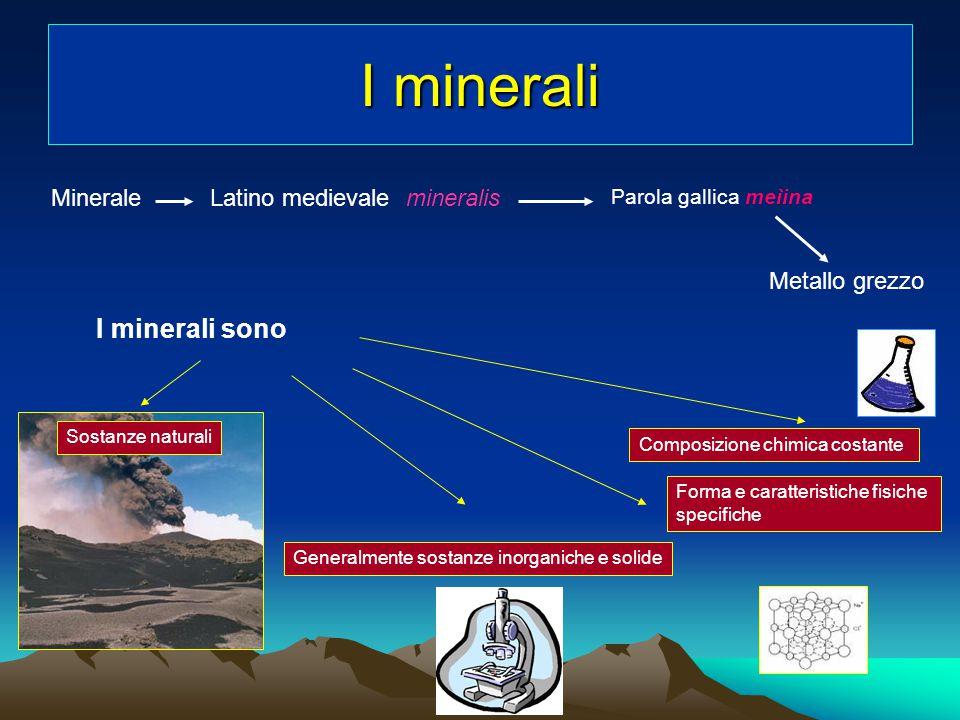 I minerali I minerali sono Minerale Latino medievale mineralis