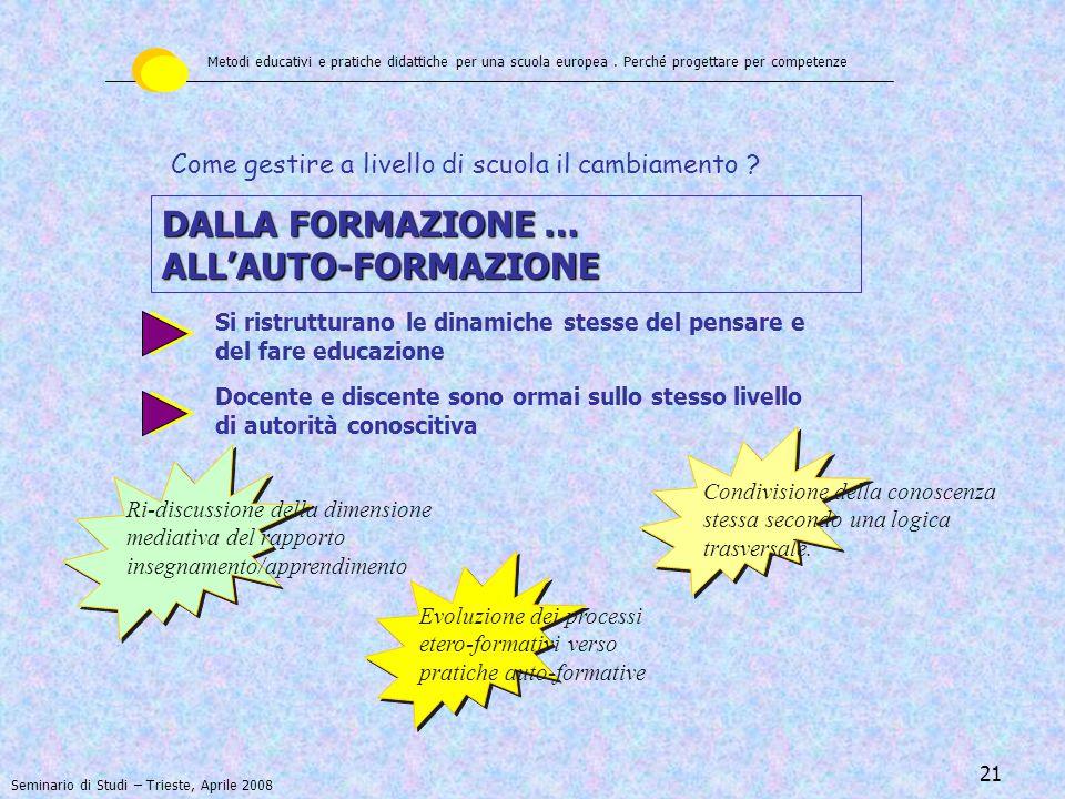 DALLA FORMAZIONE … ALL'AUTO-FORMAZIONE