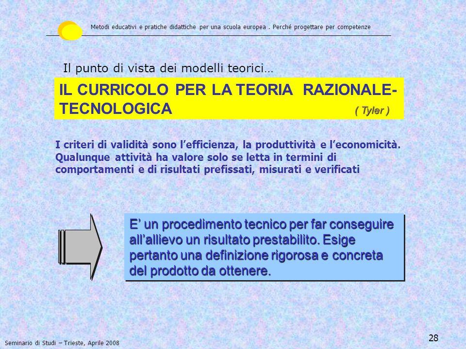 IL CURRICOLO PER LA TEORIA RAZIONALE-TECNOLOGICA