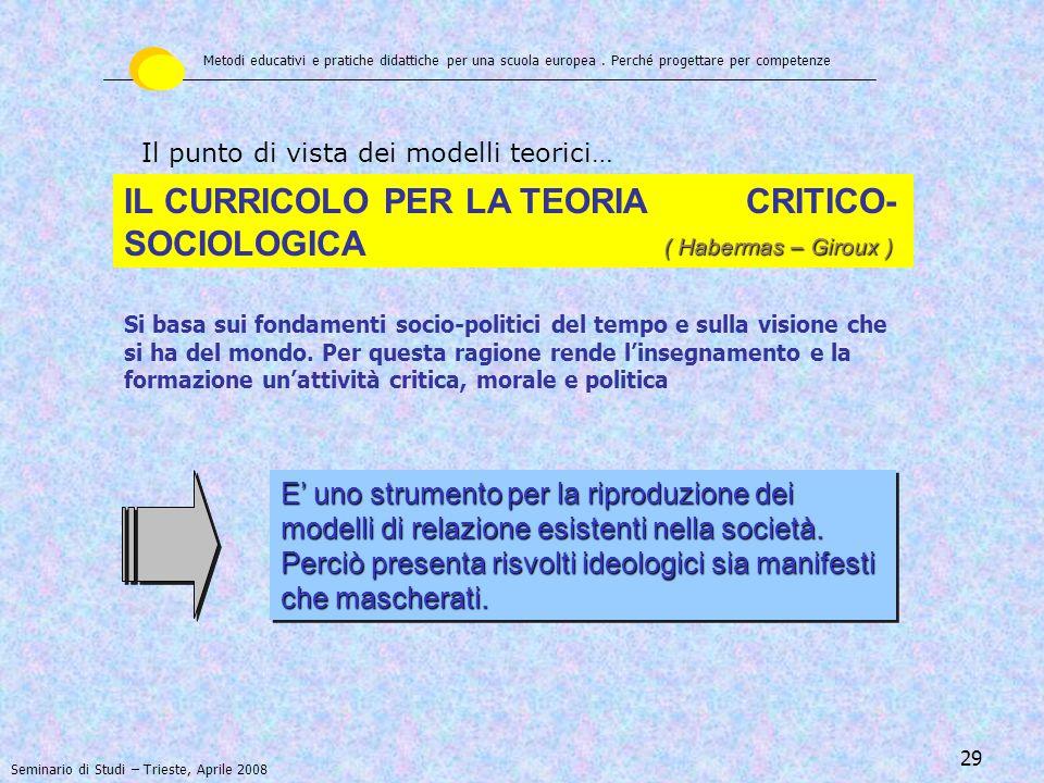 IL CURRICOLO PER LA TEORIA CRITICO-SOCIOLOGICA
