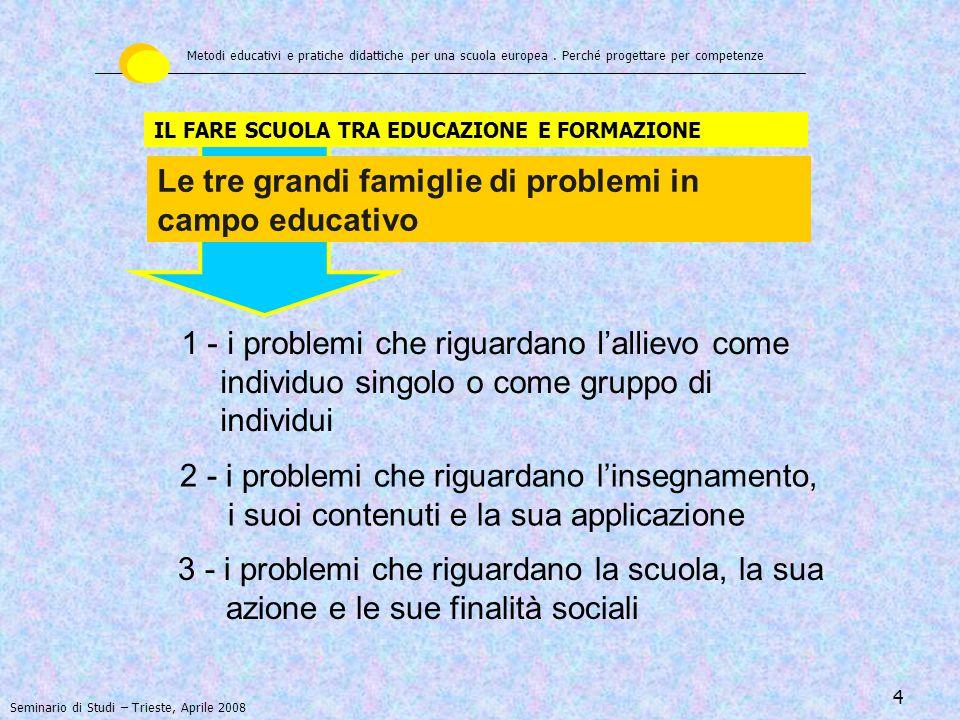 Le tre grandi famiglie di problemi in campo educativo