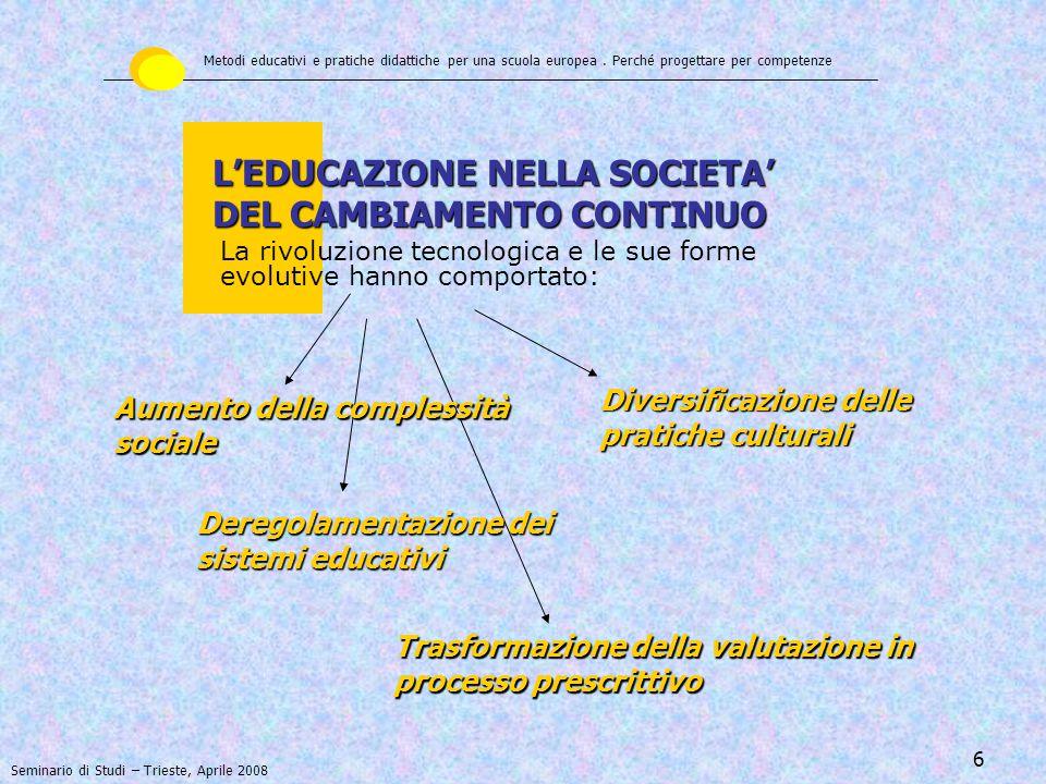 L'EDUCAZIONE NELLA SOCIETA' DEL CAMBIAMENTO CONTINUO