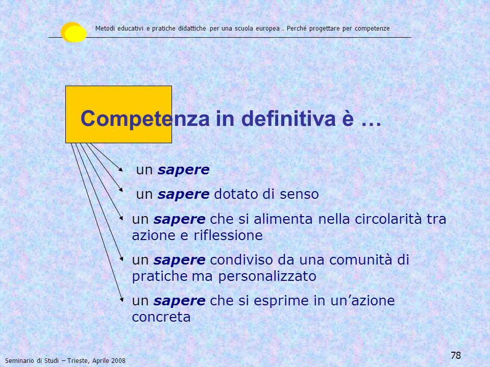 Competenza in definitiva è …