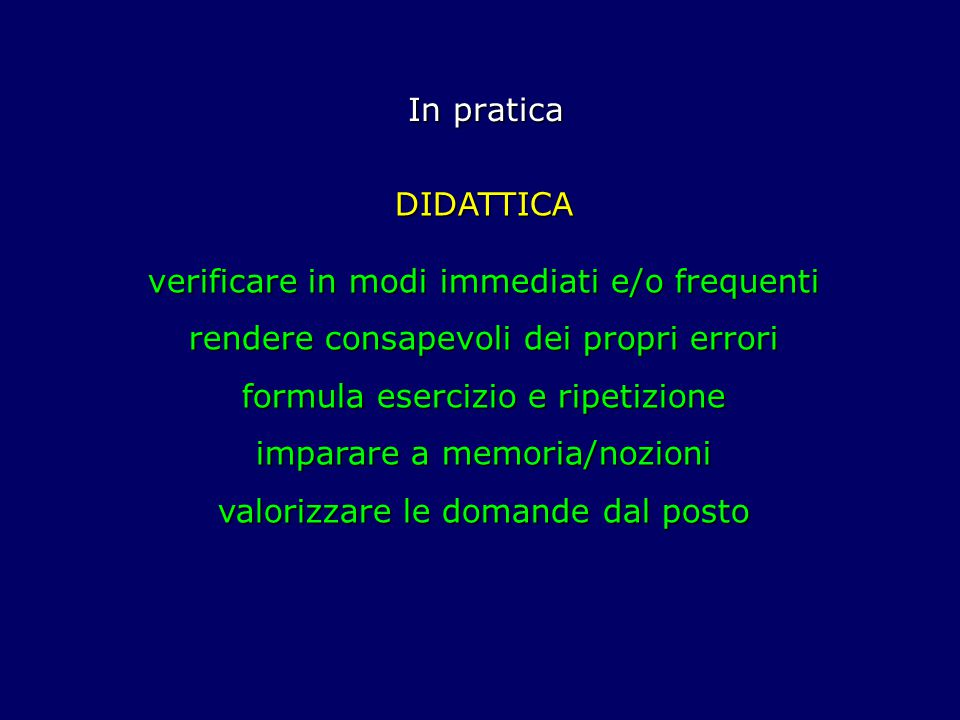 verificare in modi immediati e/o frequenti