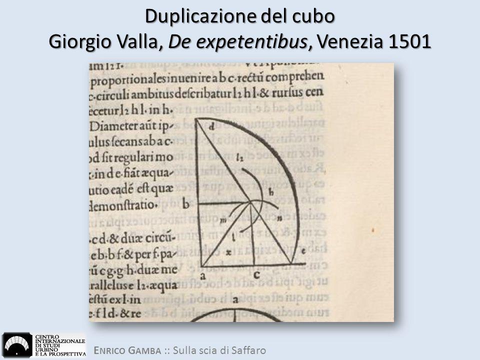 Duplicazione del cubo Giorgio Valla, De expetentibus, Venezia 1501