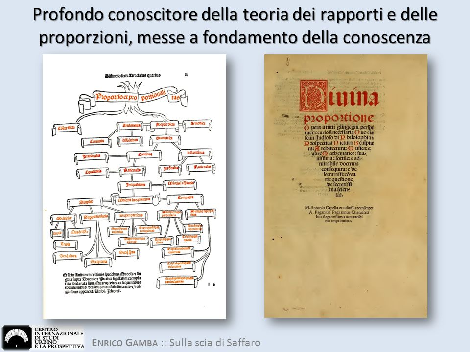 Profondo conoscitore della teoria dei rapporti e delle proporzioni, messe a fondamento della conoscenza