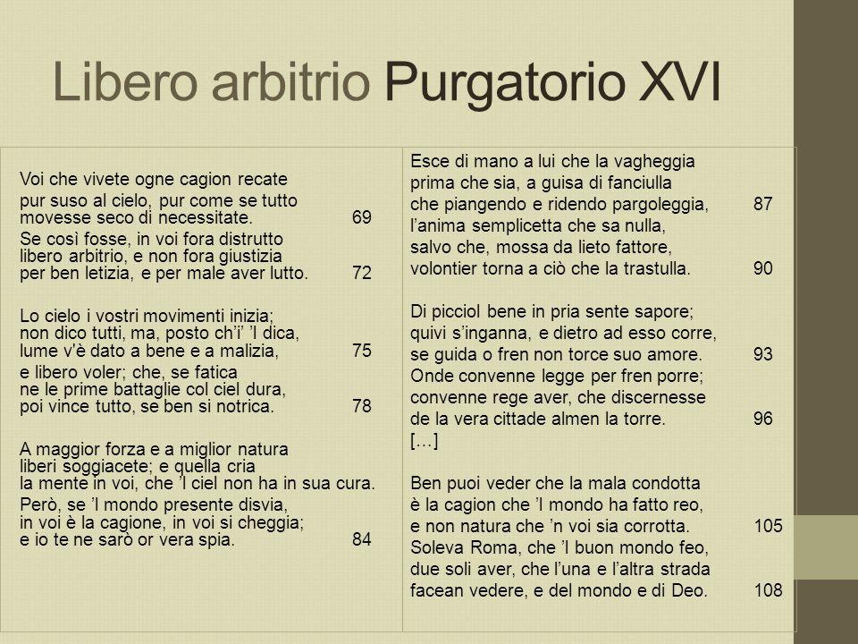 Libero arbitrio Purgatorio XVI