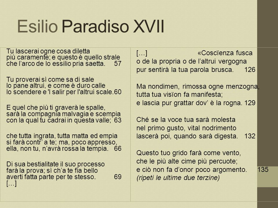 Esilio Paradiso XVII