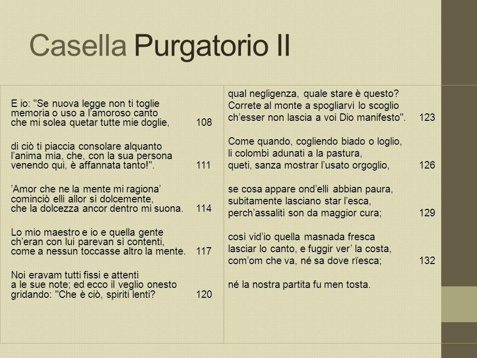 Casella Purgatorio II E io: Se nuova legge non ti toglie memoria o uso a l'amoroso canto che mi solea quetar tutte mie doglie, 108.