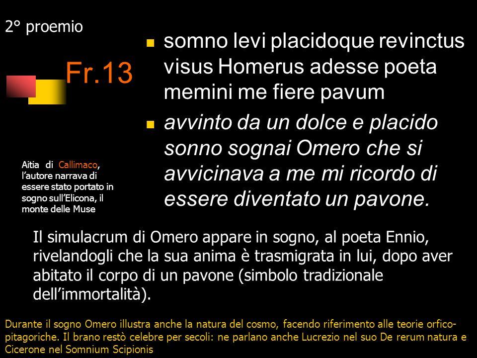 2° proemio somno levi placidoque revinctus visus Homerus adesse poeta memini me fiere pavum.