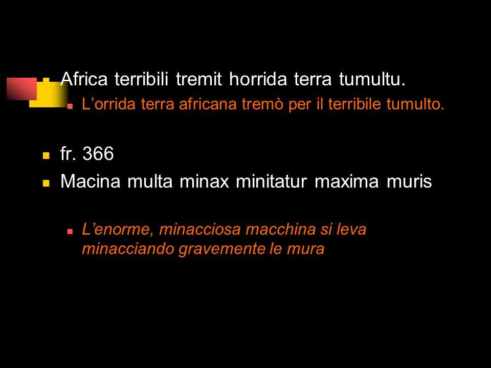 Africa terribili tremit horrida terra tumultu.