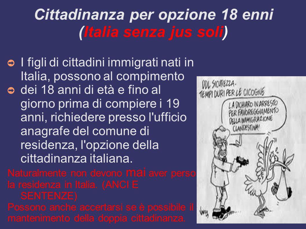 Cittadinanza per opzione 18 enni (Italia senza jus soli)