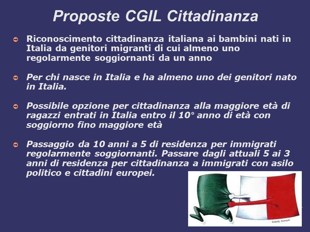 Proposte CGIL Cittadinanza
