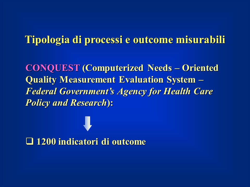 Tipologia di processi e outcome misurabili