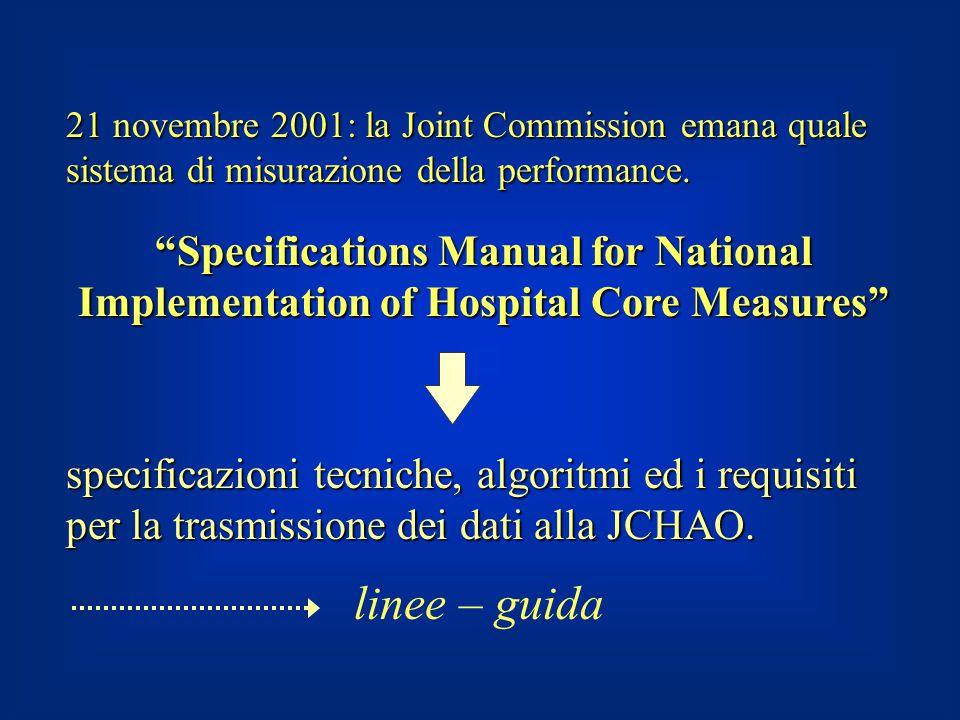 21 novembre 2001: la Joint Commission emana quale sistema di misurazione della performance.