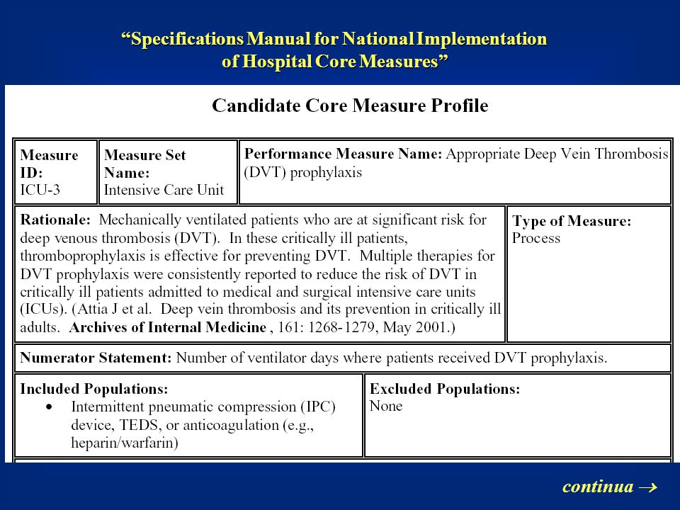 Specifications Manual for National Implementation of Hospital Core Measures